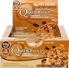 "Quest Protein Bar Oatmeal Chocolate Chip <table border=""0"" cellpadding=""0"" cellspacing=""0"" height=""108"" width=""560""><colgroup><col width=""343"" /></colgroup><tbody><tr height=""27""><td class=""xl2352"" height=""27"" style=""height:20.25pt;width:257pt;"" width=""343""><p><strong>From the Manufacturer:</strong></p><p>Decadent  c"
