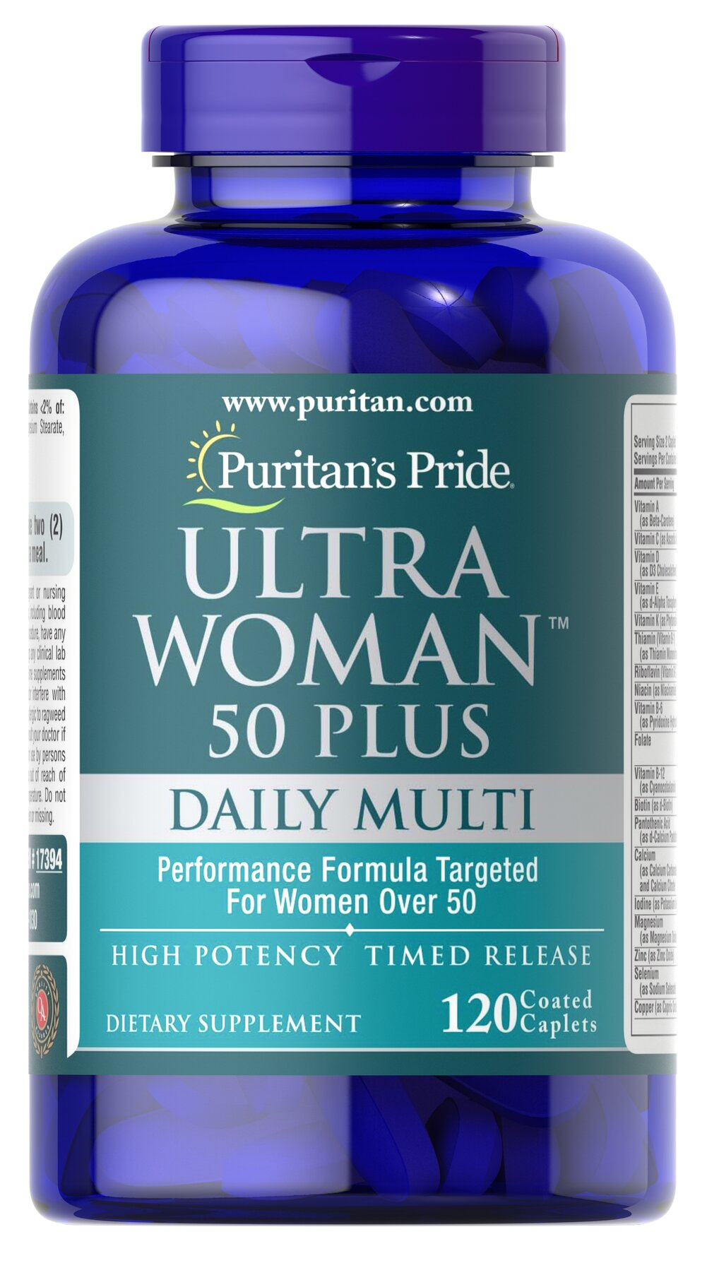 Ultra Woman™ 50 Plus Multi-Vitamin <p>A healthy aging formula designed for women over 50</p><p>High-potency caplets provide powerful antioxidant support**</p><p>Promotes strong, healthy bones**</p><p>Contributes to metabolic health and energy production**</p><p>Supports healthy hair, skin and nails**</p><p>Aids with breast and colon health**</p><p>Timed release formula provides a gradual release of nutrients, so you ca