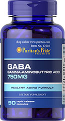 GABA (Gamma Aminobutyric Acid) 750 mg <p> Gamma-Aminobutyric Acid (GABA) is known for its importance in nervous system functioning and for working with the mood centers of the brain.** GABA is an amino acid naturally produced by the body that functions as a neurotransmitter in the central nervous system.** As a neurotransmitter, GABA's role is to support cellular function.**</p> 90 Capsules 750 mg $16.99