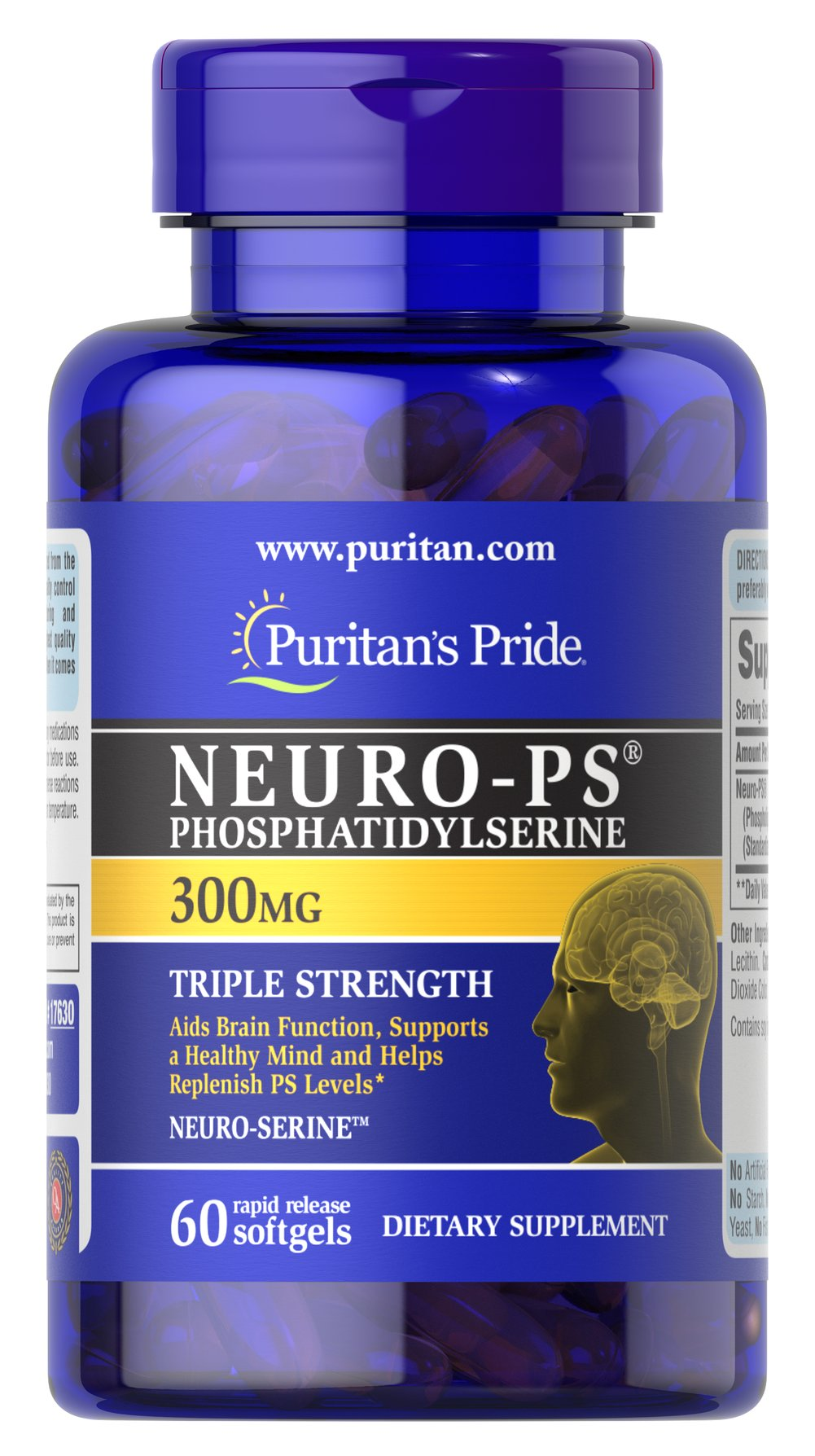 Neuro-PS 300 mg (Phosphatidylserine) <p>Phosphatidylserine (PS):</p> <p>Aids Brain Function**</p><p>Supports a Healthy Mind**</p><p>Helps Replenish PS levels**</p>   <p>Very limited and preliminary scientific research suggests that PS may reduce the risk of cognitive dysfunction in the elderly. The FDA concludes that there is  little scientific evidence supporting this claim.</p><p>Available in 100, 200 and 300 milligram potencies