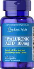 Hyaluronic Acid 100 mg <p>Helps lubricate joints**</p><p>Hyaluronic Acid is a polysaccharide found in almost all adult connective tissue, including joints, ligaments, tendons and skin.** Just one Hyaluronic Acid capsule a day can help maintain the fluid between your joints, providing the cushioning and lubrication necessary for easy movement.**</p> 30 Capsules 100 mg $30.99