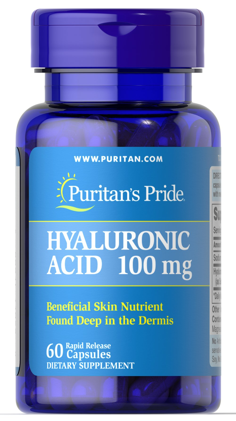 Hyaluronic Acid 100 mg <p>Helps lubricate joints**</p><p>Hyaluronic Acid is a polysaccharide found in almost all adult connective tissue, including joints, ligaments, tendons and skin.** Just one Hyaluronic Acid capsule a day can help maintain the fluid between your joints, providing the cushioning and lubrication necessary for easy movement.**</p> 60 Capsules 100 mg