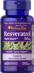 Resveratrol 50 mg <p>Everyone's talking about it… and we've got it…Resveratrol… the beneficial substance found in red wine.**</p><p>Resveratrol, the beneficial substance in red wine, nutritionally supports antioxidant health**</p><p>Helps fight cell-damaging free radicals in the body**</p><p>Gives you more Resveratrol in a daily serving than an entire bottle of red wine</p> 60 Softgels 50 mg $12.99