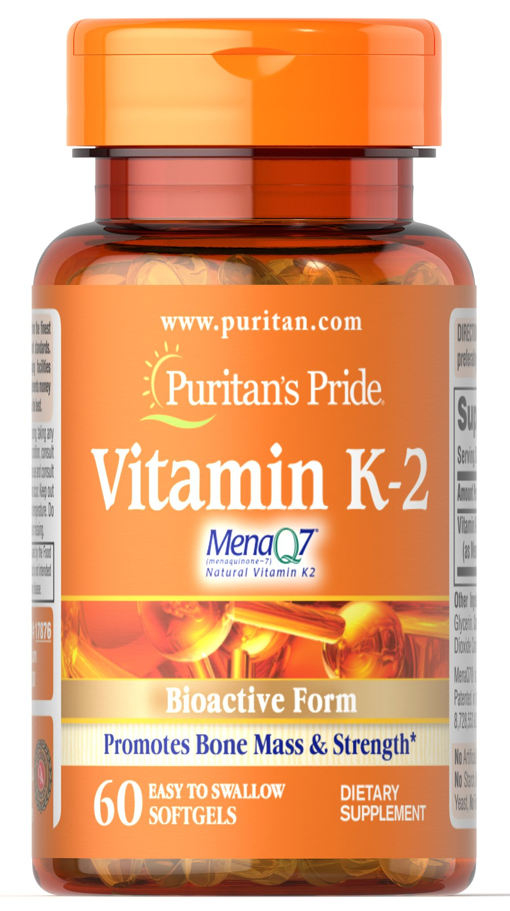 Vitamin K-2 (MenaQ7) <p>Plays an important role in maintaining bones health and strength**</p>  <p>Features MenaQ7 — a natural, bioactive form of Vitamin K</p>  <p>Vitamin K-2, also known as Menaquinone, supports normal blood clotting and activates enzymes responsible for bone formation.**</p> 60 Softgels 50 mcg $29.99