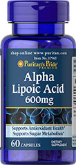 Alpha Lipoic Acid 600 mg <p>600 mg Alpha Lipoic Acid per capsule</p><p>Promotes antioxidant support**</p><p>Supports sugar metabolism**</p><p>At 600 mg per capsule, Puritan Pride's higher potency Alpha Lipoic Acid (ALA) helps support nerve, liver and antioxidant health — and helps to metabolize sugar in the body.** A coenzyme and powerful universal antioxidant, ALA helps fight cell damaging free radicals in the body.** </p> 60 Capsules 600 mg $23.9