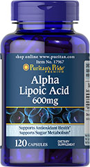 Alpha Lipoic Acid 600 mg <p>600 mg Alpha Lipoic Acid per capsule</p><p>Promotes antioxidant support**</p><p>Supports sugar metabolism**</p><p>At 600 mg per capsule, Puritan Pride's higher potency Alpha Lipoic Acid (ALA) helps support nerve, liver and antioxidant health — and helps to metabolize sugar in the body.** A coenzyme and powerful universal antioxidant, ALA helps fight cell damaging free radicals in the body.** </p> 120 Capsules 600 mg $44.