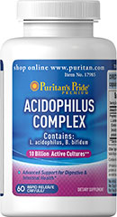 Acidophilus Complex <p>Supports Digestive and Intestinal Health**</p><p>10 Billion multi strain active cultures per capsule at time of manufacture</p><p>Contains L.Acidophilus and B.lactis</p><p>Acidophilus supports the healthy functioning of the intestinal system by promoting a favorable environment for the absorption of nutrients.**</p> 60 Capsules 10 billion $24.99