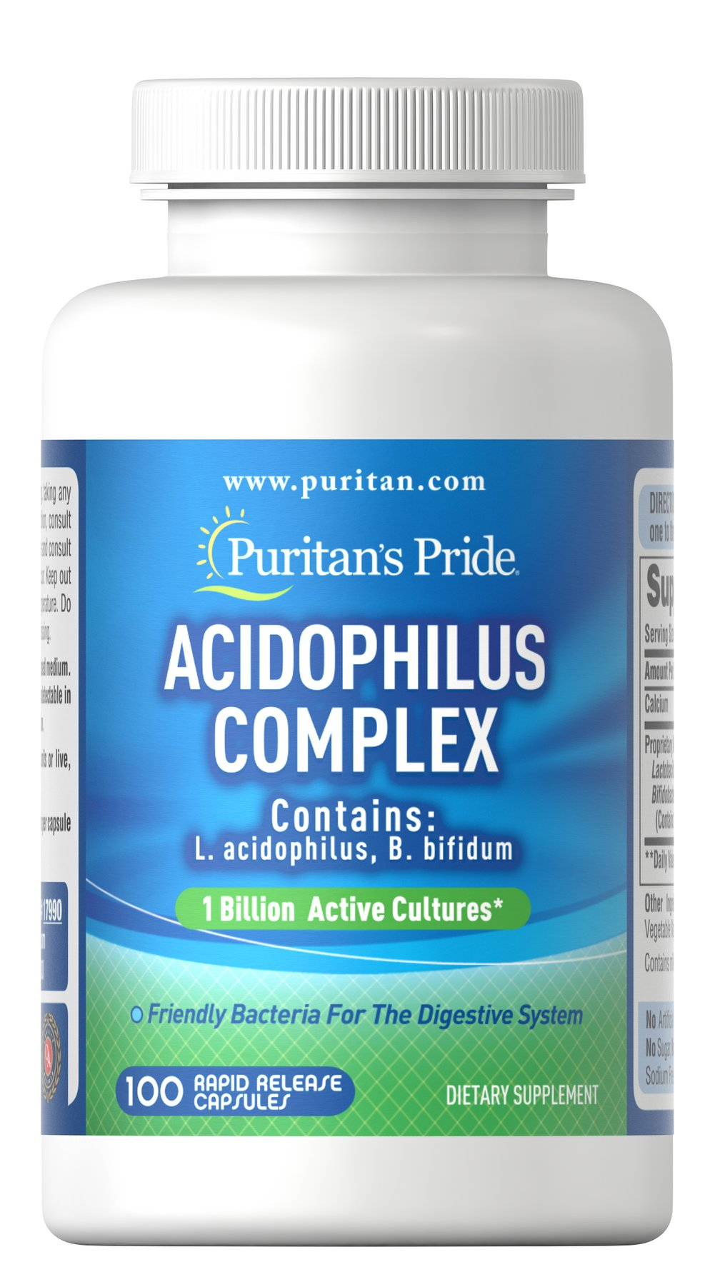 Probiotic Acidophilus Complex <p>Supports Digestive and Intestinal Health**</p>  <p>1 Billion multi strain active cultures per capsule at time of manufacture</p>  <p>Contains L. Acidophilus and B. lactis</p>  <p>Acidophilus supports the healthy functioning of the intestinal system by promoting a favorable environment for the absorption of nutrients.** Most digestion takes place in the intestines so it is important to maintain intestinal health.</p>