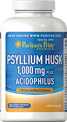 "Psyllium Husk plus Acidophilus <p>Nourishes the intestinal system**</p><p>Increases the amount of ""good"" bacteria in the digestive tract**</p><p>Cleanses your colon to promote regularity**</p><p>Contains one billion active cultures at the time of manufacture</p><p>A good source of bulk-forming fiber,  Psyllium and Acidophilus provide double the support for your intestinal and digestive tracts.**</p> 120 Capsules 1000 mg/1 billion $25.99"