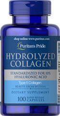 Hydrolyzed Collagen 400 mg <p>Promotes radiant skin, gleaming hair and strong nails**</p>  <p>Helps maintain body collagen**</p>  <p>Supplies high concentrations of the amino acids Glycine, Hydroxyproline and Proline</p>  <p>Collagen is a complex structural protein that nourishes your skin, hair and nails for a healthy appearance.** </p> 100 Capsules 400 mg $41.99