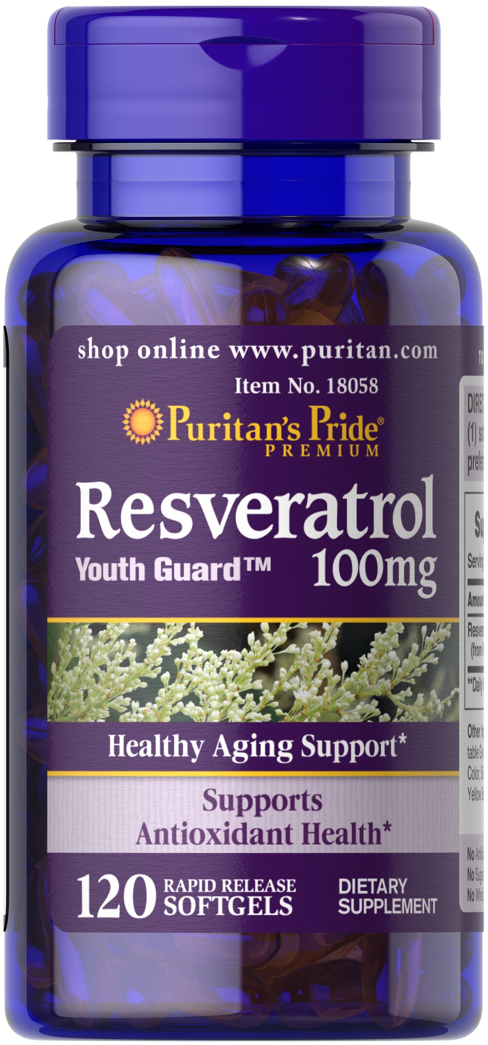 Resveratrol 100 mg <p>Resveratrol is a grape extract that contains flavonoids.</p><p>Possesses antioxidant properties.**</p><p>Helps fight the cell damaging effects of free radicals**</p><p>One 100 mg softgel contains more resveratrol than an entire bottle of red wine. </p> 120 Softgels 100 mg $42.99