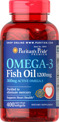 Omega-3 Fish Oil 1200 mg (360 mg Active Omega-3) <p>This Ester-Omega® Fish Oil provides 360mg of total omega-3 fatty acids, comprising of EPA, DHA and other fatty acids. EPA and DHA fatty acids support heart health.** Purified to eliminate mercury. Rapid release softgels.</p> 400 Softgels 1200 mg $39.99