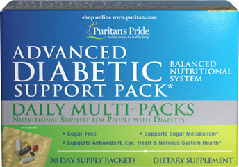 Advanced Diabetic Support Pack This advanced support supplement contains vitamins, minerals and other nutrients in one convenient daily pack, so it's ideal for your busy life. <br /><br />Each pack contains a balanced source of over 20 essential vitamins and minerals and other beneficial nutrients to provide extended nutritional support. The multivitamin tablets in the pack are time-released, to provide extended nutritional support for maximum benefits.<br /><br />The