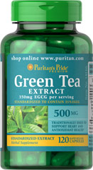 Green Tea Standardized Extract 500 mg <p>Provides antioxidant support**</p><p>Supports healthy cell growth**</p><p>Promotes heart and prostate health**</p><p>Rapid release capsules contain 350 mg of EGCG per serving</p><p>The natural polyphenols and flavonoids within Green Tea contribute to its powerful antioxidant properties.** Green Tea helps fight cell-damaging free radicals.**</p> 120 Capsules 500 mg $23.99