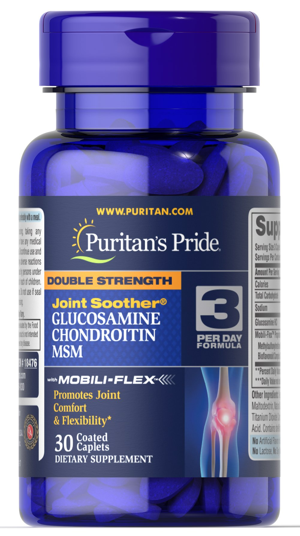 "Double Strength Glucosamine, Chondroitin & MSM Joint Soother® <p>Give your joints a taste of one of the most popular formulas for joint health support.*</p><p><span></span>The combination of Glucosamine, Chondroitin, and MSM help to nutritionally <a href=""/joint-support-062?searchterm=joint%20health&rdcnt=1"">support your joints</a> , for greater flexibility and range of motion.*</p> 30 Caplets  $3.29"
