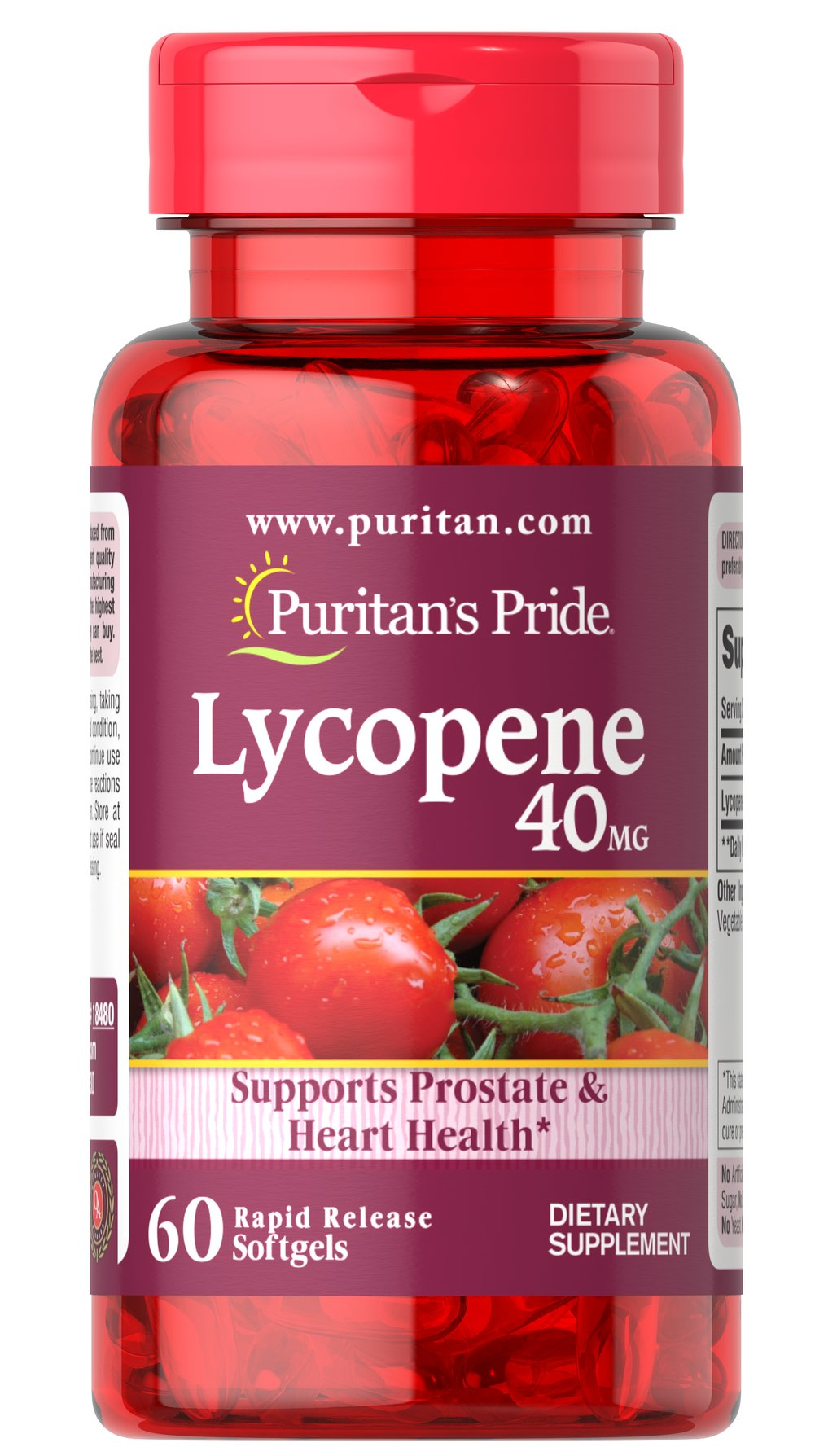Lycopene 40 mg <p>Lycopene, a naturally occurring carotenoid, possesses antioxidant properties which help neutralize harmful free radicals in cells, and play a role in maintaining good health.**  Lycopene promotes prostate and heart health, and supports the immune system.** Adults can take one softgel daily with a meal.</p> 60 Softgels 40 mg $39.99