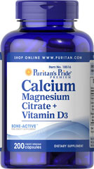 Calcium Magnesium Citrate plus Vitamin D <p>Calcium and Magnesium play essential roles in maintaining proper bone mineralization. Calcium and Magnesium are also involved in muscle contractions and nerve impulses.**</p> 200 Capsules  $22.19