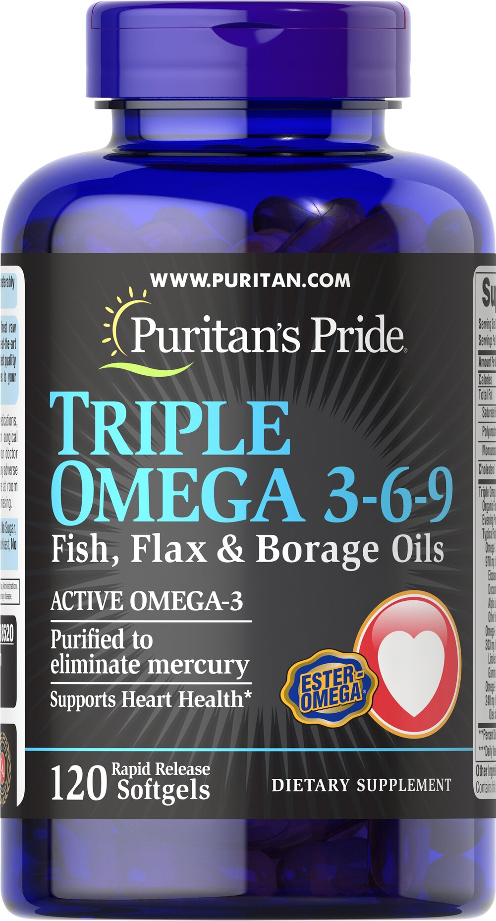 "Triple Omega 3-6-9 Fish, Flax & Borage Oils <p><strong>Purified to Eliminate Mercury</strong></p><p>Contains Omega-3, Omega-6 and Omega-9 – the ""good"" fats important for cellular, heart and metabolic health.** </p>TRIPLE OMEGA 3-6-9 contains <em>a proprietary blend of essential oils, including Flaxseed Oil, Fish Oil, Evening Primrose Oil and Borage Oil, and is a good source of Vitamin E.</em><p></p> 120 Softgels  $21.49"