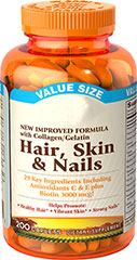 Hair, Skin & Nails <p>Sundown's Hair, Skin and Nails caplets provide a combination of nutrients including Vitamin C and Biotin.<br /></p><p>Contains 29 key ingredients including the following:</p><ul><li>Antioxidants C and E</li><li>Biotin 3,000 mcg</li></ul> 200 Caplets  $1.99
