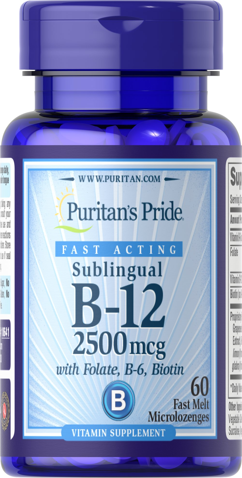 Vitamin B-12 2500 mcg Sublingual with Folic Acid, Vitamin B-6 and Biotin  60 Microlozenges 2500 mcg $19.99