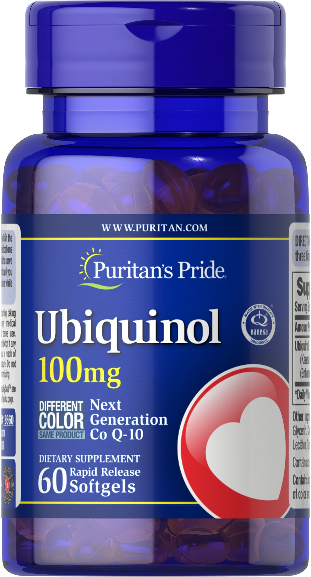 Ubiquinol 100 mg <p>Advanced, active form of Co Q-10</p><p>Promotes a healthy heart and cardiovascular system.**</p><p>Exceptional antioxidant properties.**</p><p>Ordinary Co Q-10 supplements must be converted in the body to Ubiquinol to provide benefits…so by supplementing with Ubiquinol, you're saving your body a step and reaping healthful benefits right away!**</p><p>Studies indicate that Co Q-10 levels may decline as we age.</p> 60