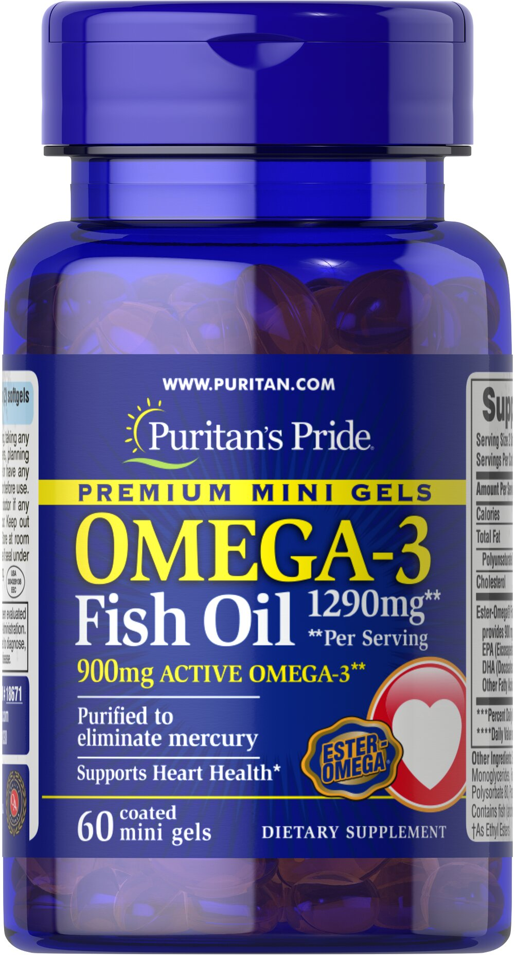 Omega-3 Fish Oil 645 mg Mini Gels (450 mg Active Omega-3) <p><strong>Purified to Eliminate Mercury</strong></p><p>Enhanced with 900 mg of active Omega-3 per serving</p><p>Mercury free mini gels are coated to prevent fishy aftertaste</p> 60 Coated Softgels 645 mg $14.39