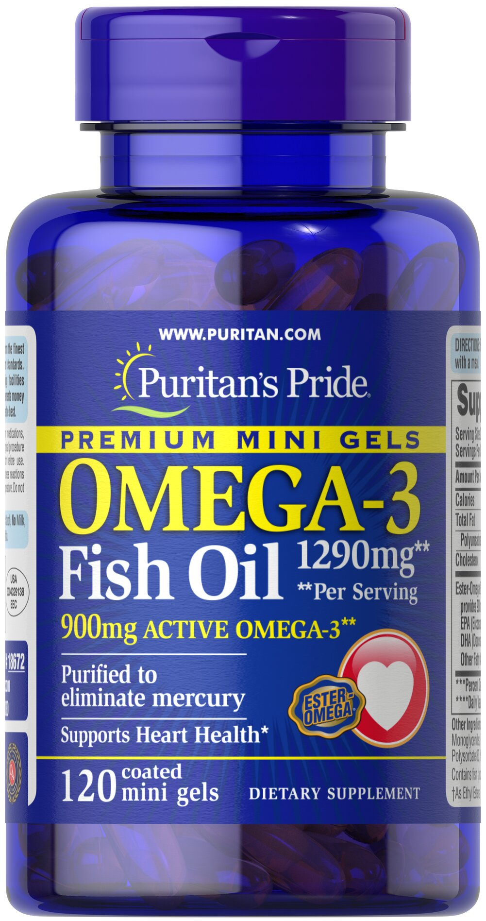 Omega-3 Fish Oil 645 mg Mini Gels (450 mg Active Omega-3) <p><strong>Purified to Eliminate Mercury</strong></p><p>Enhanced with 900 mg of active Omega-3 per serving</p><p>Mercury free mini gels are coated to prevent fishy aftertaste</p> 120 Coated Softgels 645 mg $34.39