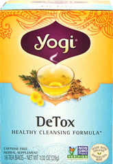 "Detox Tea <p><strong>From the Manufacturer's Label:</strong></p><p><strong>A Renewed You </strong></p><p>Yogi DeTox tea uses the time-honored herbs Burdock, Organic Dandelion and  Juniper Berry.  The blend called ""trikatu"" (Ginger, Black Pepper, and Long Pepper) is in this blend, and Sarsaparilla adds spicy flavor.  </p> 16 Tea Bags  $7.49"
