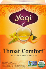 Organic Throat Comfort® Tea <p><strong>From the Manufacturer's Label:</strong></p><p>When you need a little comfort, drink a cup of this all organic herbal formula with Slippery Elm Bark and Mullein. Wild Cherry Bark as well as Licorice Root are added for sweet flavor. Throat Comfort is tasty and gentle, everyone can enjoy it! </p> 16 Tea Bags