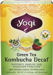 Green Tea Kombucha Decaf Tea <p><strong>From the Manufacturer's Label:</strong></p><p>Yogi's special formula of Organic Decaffeinated Green Tea with Kombucha has a combination of fragrant fruity flavors that creates a smooth blend of tea. Once the steeping process is complete, you are ready to enjoy a delicious, delightful, and soothing cup of green tea!<br /></p>  16 Tea Bags  $7.49