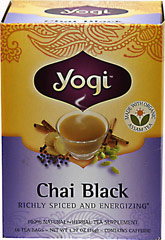 Chai Black Tea <p><b>From the Manufacturer's Label: </p></b><p>Transport yourself to the palaces of India with every cup of Chai Black.  The journey begins with rich, full-bodied Organic Assam Black Tea from the Assam region of India-one of only two places in the world with native tea plants. To create an authentic, energizing chai, we've added a blend of the classic spices of Cinnamon, Cardamom and Ginger, used for centuries in Ayurveda for their warming and cl