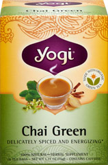 Chai Green Tea <p><strong>From the Manufacturer's Label:</strong></p><p>Experience a refreshing alternative in the exotic world of chai.  We've crafted this unique blend with carefully selected Organic Green Tea Leaf. Lively Cinnamon and Ginger combine for true chai flavor, and light, peppery notes of Cardamom round off the full-bodied flavor of this captivating tea.  </p><p>So, when you're in the mood for something a little different, enjoy