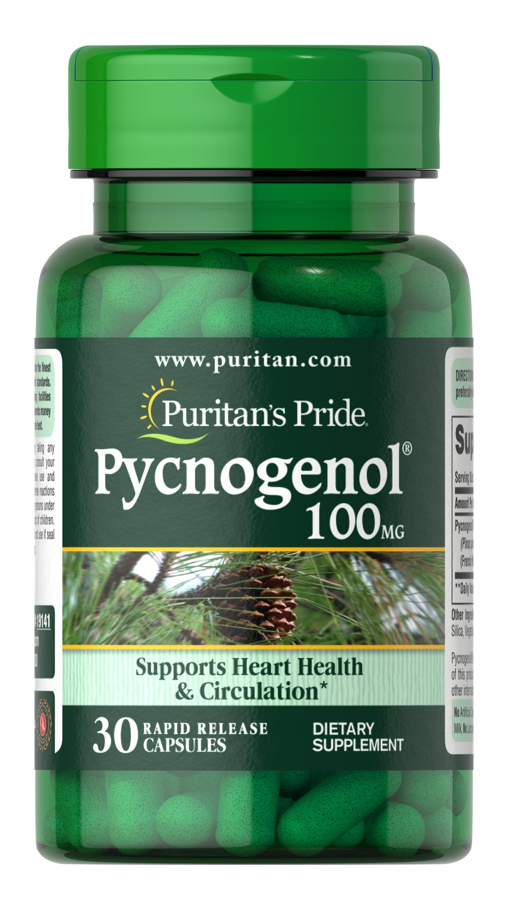 Pycnogenol® 100 mg <p>Provides powerful antioxidant support**</p><p>Supports healthy circulation and contributes to heart function**</p><p>May help with the occasional discomforts of PMS**</p><p>Aids with maintaining healthy skin**</p><p>Assists with eye health**</p><p>Helps maintain glucose levels already within a normal range**</p>  30 Capsules 100 mg $60.99
