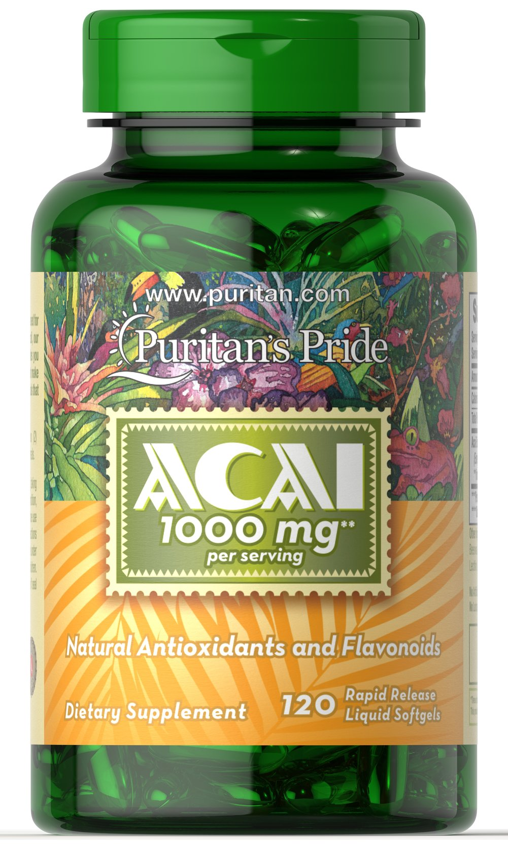 Acai 1000 mg Rapid-release liquid softgels <p></p>Contains 1000 mg Acai per serving (two softgels)<p></p>Contains natural flavonoids and antioxidants<p></p>Supports overall well-being**<p></p>Helps enrich the vitality of your body and soul**<p></p> 120 Softgels 1000 mg $18.99
