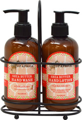 Hand body care geranium hand wash and lotion caddy Hand wash and lotion caddy