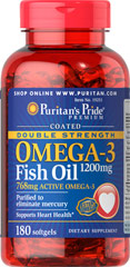 Double Strength Coated Omega-3 Fish Oil 1200 mg  180 Softgels 1200 mg