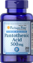 Pantothenic Acid 500 mg Timed Release <p>Pantothenic Acid is needed for normal functioning of the gastrointestinal tract and is required by all of the cells in the body.**  It also helps convert fats, carbohydrates, and proteins into energy.**  Available in (100 mg) & (200 mg) tablets.  Also available in (500 mg) TIME RELEASE Tablets.</p> 200 Tablets 500 mg $19.59