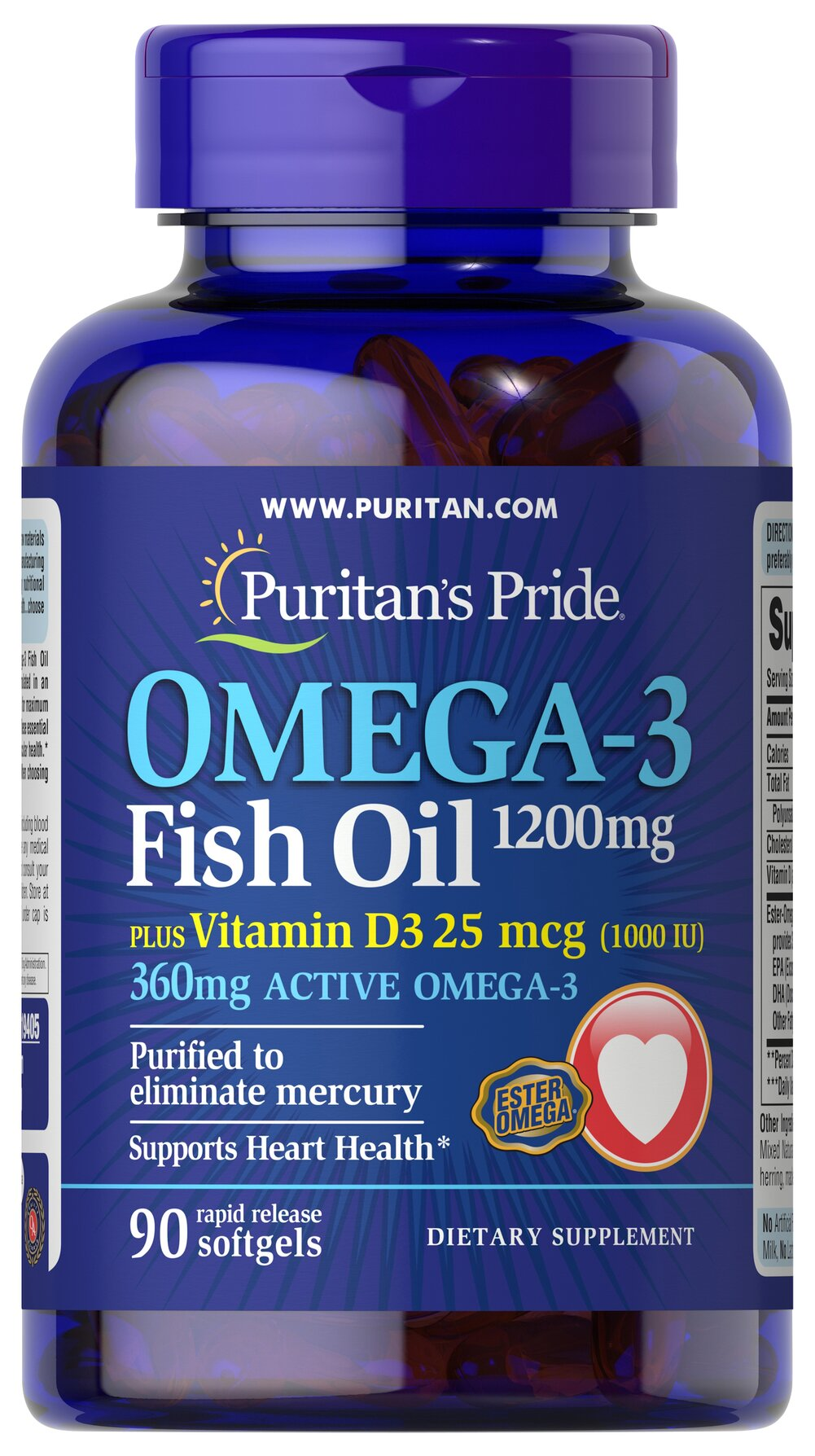 Omega 3 Fish Oil 1200 mg  plus Vitamin D3 1000 IU <p>Omega-3 Fish Oil– a highly concentrated and purified fish oil selected from the finest deep sea, cold water fish combined with 1000 IU of Vitamin D3 in one convenient coated softgel.</p> 90 Softgels 1200 mg/1000 IU $19.99