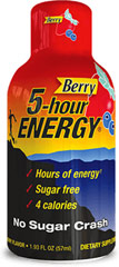 5-Hour Energy Berry <p><strong>From the Manufacturer's Label: </strong></p><p>Hours of energy now - no crash later**</p><p>Sugar Free</p><p>Only 4 Calories</p><p>We are proud to bring you 5-Hour Energy Berry from Chaser. Look to Puritan's Pride for high-quality products and great nutrition at the best possible prices.</p> 12 pack Liquid