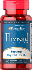 Thyroid Action <p>Our Thyroid Action combines Iodine, B-Vitamins, the amino acid L-Tyrosine and all-natural herbs into one unique formula!  A full day's serving of Iodine (150 mcg) supports thyroid function.  **Iodine is an essential component of the thyroid hormone that plays a role in growth, development and metabolic processes.**</p> 60 Capsules  $12.99