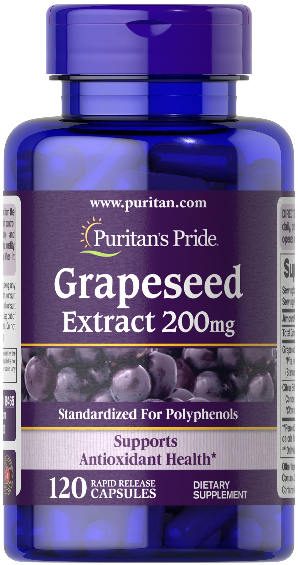 Grapeseed Extract 200 mg <p><b>Grapeseed Extract</b> helps maintain antioxidant health.** It contains oligomeric proanthocyanidins (OPCs), which are naturally occurring bioflavonoids. Free of yeast, wheat, sugar, preservatives, soy,  gluten, fish, artificial color, artificial flavor and sodium (less than 5 mg per serving). Standardized to contain 50% Polyphenols. Adults can take one capsule one or two times daily.</p> 120 Capsules 200 mg $29.99