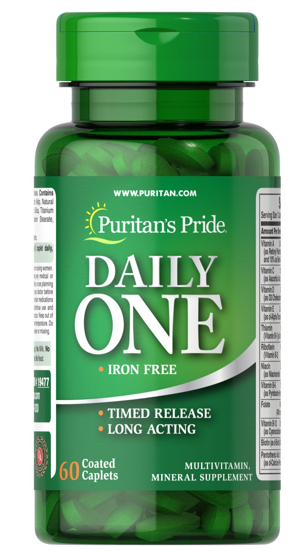 Iron Free Multivitamins Timed Release <p>Provides more than 20 vitamins and minerals for overall health and wellness**</p><p>Iron-Free formula is perfect for those looking to limit their intake of Iron</p><p>A super convenient dose of just one long-acting coated caplet a day</p><p>Our timed release formula supplies prolonged absorption of B-Complex and C vitamins for heart, immune and nervous system health**</p> 60 Caplets