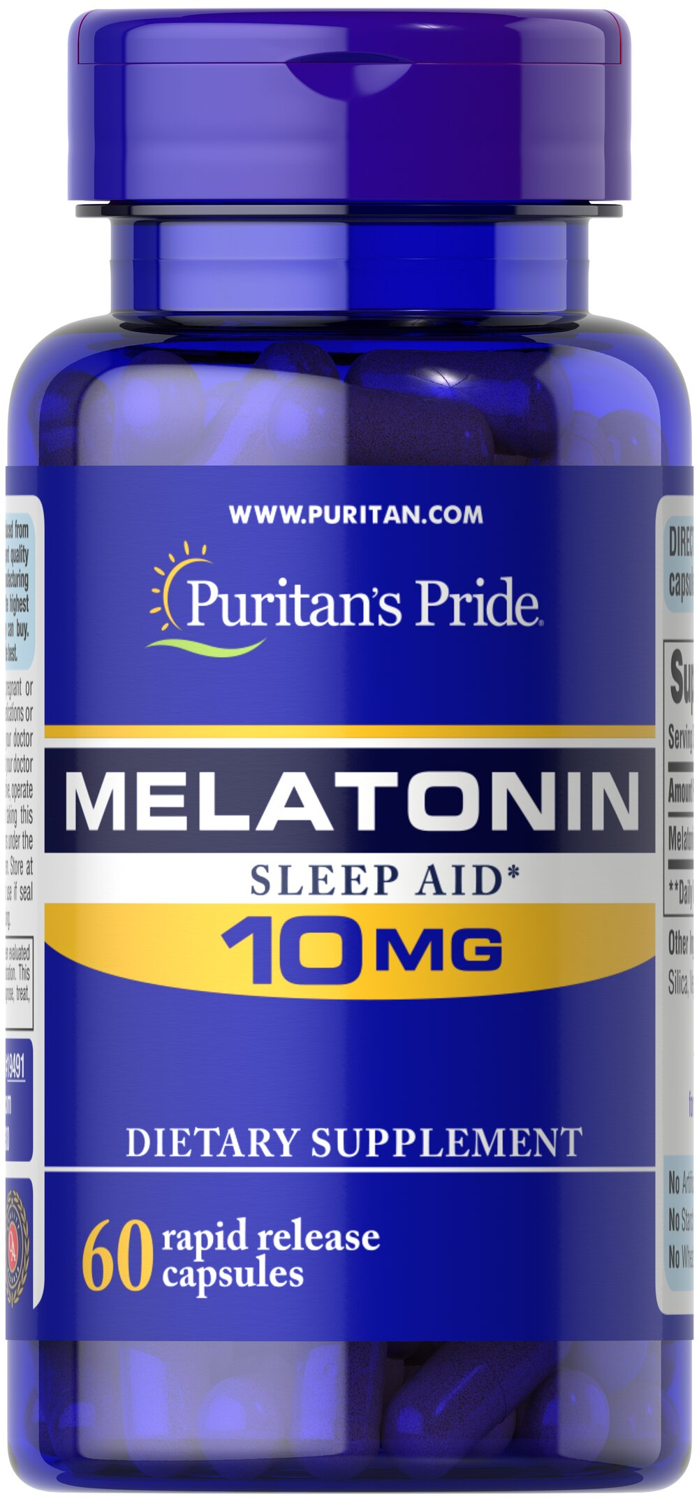 Melatonin 10 mg <p>Sometimes it's hard to unwind after a long day. That's when it's time for Melatonin, a hormone naturally produced in the body that is closely involved in the natural sleep cycle.** It's a terrific choice if you experience occasional sleeplessness or jet lag, or if you want to improve your quality of rest.**  Melatonin helps you fall asleep quickly and stay asleep longer**<br /></p> 60 Capsules 10 mg $11.49