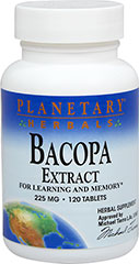 Bacopa Extract 225 mg <p><strong>From the Manufacturer's Label:</strong></p><p>For Learning and Memory**<br /><br />Bacopa has been revered for centuries in the Ayurvedic herbal tradition of India to enhance clear thinking and support memory function.** For both young and old, Bacopa is ideal for those wishing to enhance their memory potential.**<br /><br />Manufactured by Planetary Herbals </p><p></p><p></p>