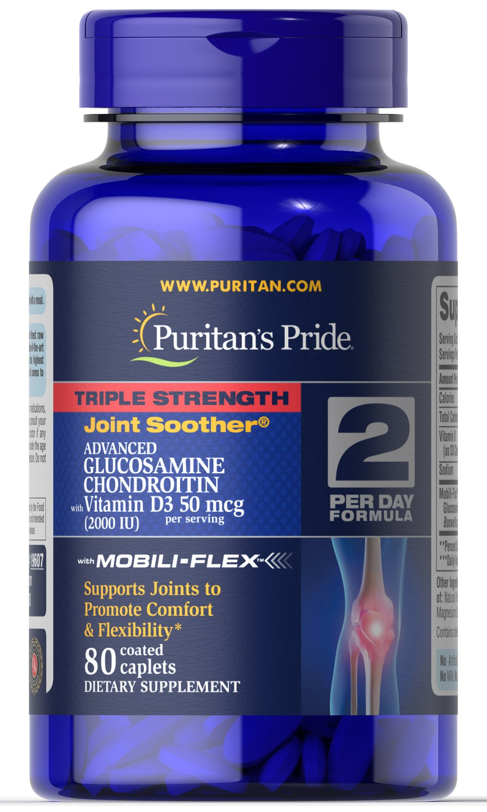 Triple Strength Glucosamine Chondroitin with Vitamin D3  <p>Triple strength formula - one serving is only two caplets per day</p>   <p>Contains Mobili-Flex™, a proprietary blend that lubricates joints to promote comfort and flexibility**</p>   <p>Glucosamine HCL, Chondroitin Sulfate and Boswellia Serrata Extract work together to support joint and cartilage health**</p>   <p>Added benefit of 2000 IUs of Vitamin D3 to assist in the absorption of