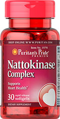 Nattokinase Complex What the Japanese Know<br /><br />The Japanese diet has long been known as heart healthy, in large part because it contains substantial amounts of soy-based nutrients.** Nattokinase is a beneficial enzyme derived from the fermented Japanese soybean called Natto, and is provided here in a rapid-release softgel.<br />• Nattokinase supports Heart and Circulatory Health**<br /> 30 Softgels 100 mg $27.79