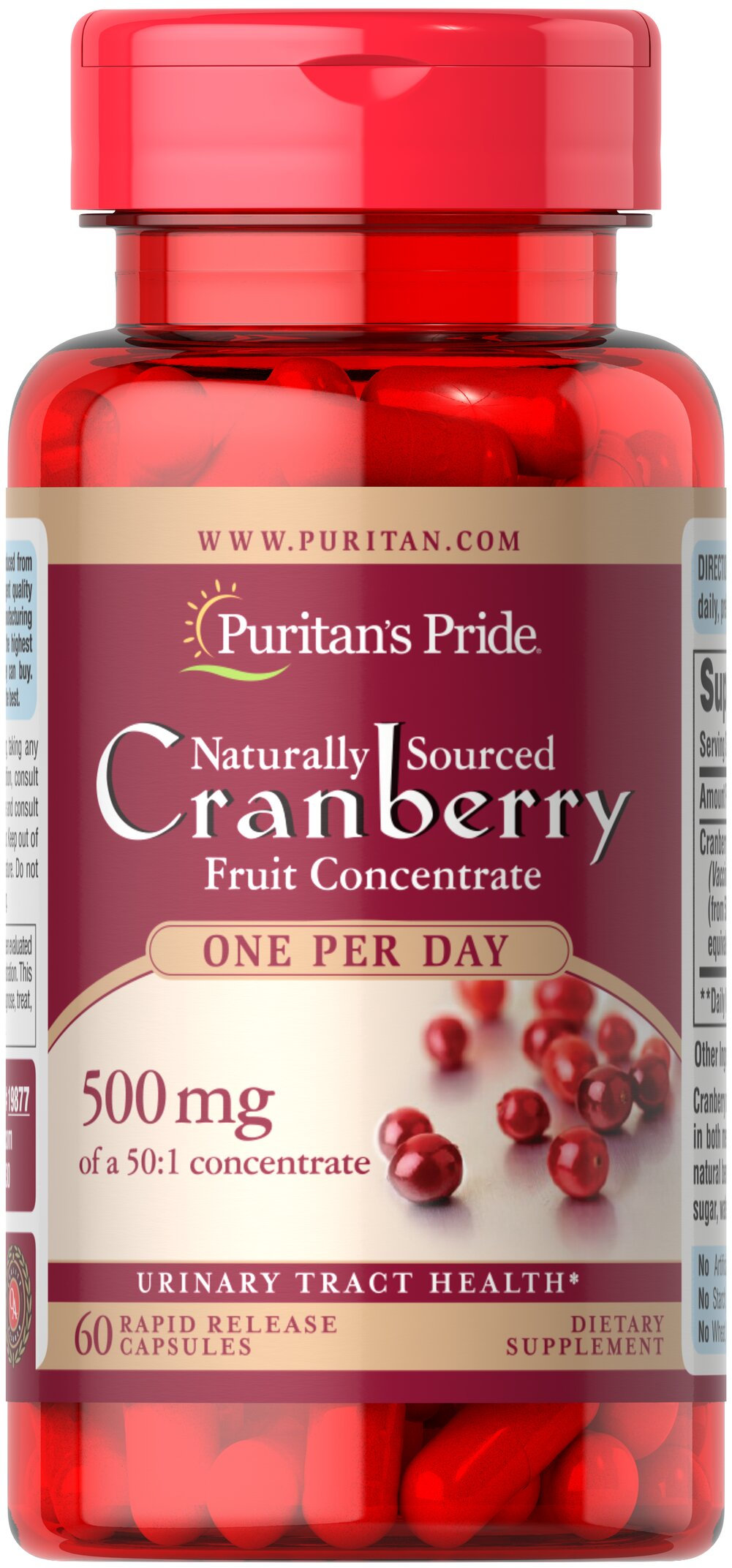 One A Day Cranberry <p>Equivalent to 25,000 mg of Cranberry Fruit per Capsule.</p><p>For years, health experts have recommended cranberry to help promote urinary tract health.**</p><p>Each dose provides the natural benefits of the whole cranberry without any preservatives, sugars, water, flavoring or color.</p> 60 Capsules 500 mg $9.34