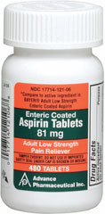 Aspirin Low Dose 81 mg <p><b>From the Manufacturer's Label: </p></b><p>Temporarily relieves minor aches, minor fever and pains of arthritis and rheumatism.</p>  <p>Active ingredient: Aspirin 81 mg (pain reliever/fever reducer).</p><p>Compare to active ingredient in BAYER® Adult Low Strength Enteric Coated Aspirin.*</p><p>*Advance Pharmaceutical Inc., is not affiliated with the owner of the trademark BAYER®.</p>