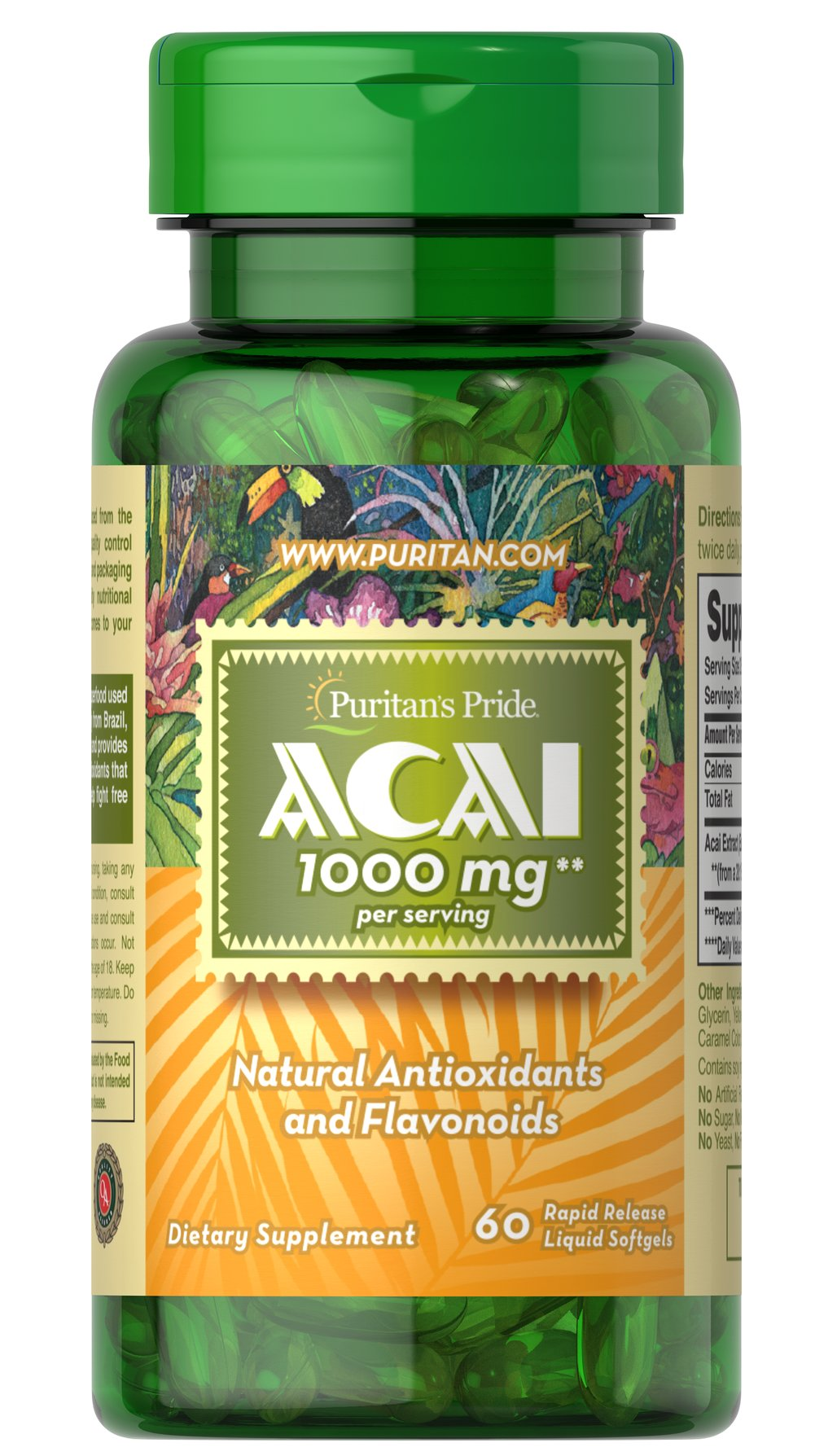 Acai 1000 mg Rapid-release liquid softgels. <p></p>Contains 1000 mg Acai per serving (two softgels).<p></p>Contains natural flavonoids and antioxidants<p></p>Supports overall well-being**<p></p>Helps enrich the vitality of your body and soul**<p></p> 60 Softgels 1000 mg $10.29