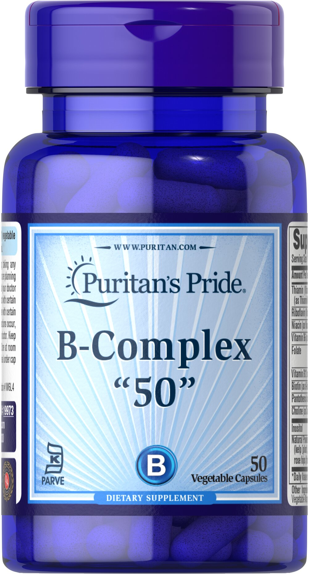 Vitamin B-50 Complex 50 mg Kosher <p>Essential B-Vitamins in a Kosher Capsule!</p> <p>Vitamin B-50 Kosher Complex helps support the nervous system and promotes energy metabolism**</p> <p>Includes a full day's serving of Folic Acid to support the heart, cell growth and women's reproductive health**</p> <p>Comes in a vegetable capsule and is free of corn, yeast, wheat, soy, and dairy products, as well as sugar, salt, and starch</p> <p>Prepared